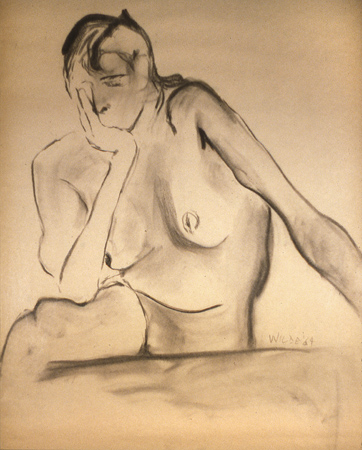 early drawing titled thinking, 1964